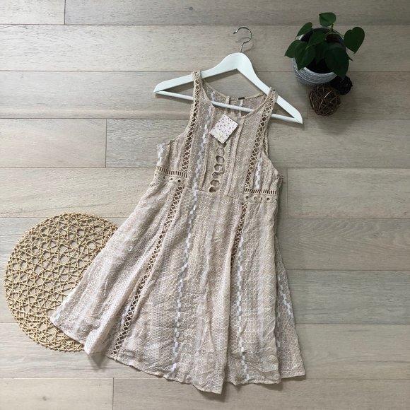 Free People Sleeveless Crochet Knit Mini Dress 12